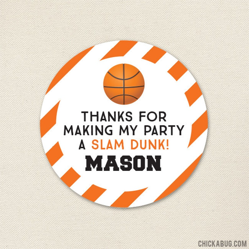 new concept a1a50 720c7 Basketball Birthday Party Favor Stickers - Basketball Party Stickers -  Sheet of 12 or 24