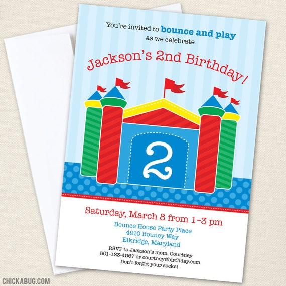bounce house party invitations professionally printed or diy