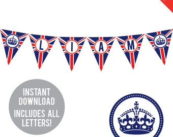 INSTANT DOWNLOAD Union Jack Party - DIY printable pennant banner - Includes all letters, plus ages 1-18