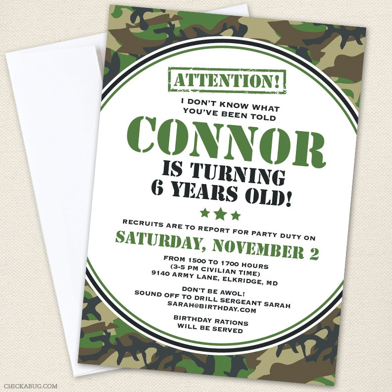 Camo Or Army Party Invitations Professionally Printed