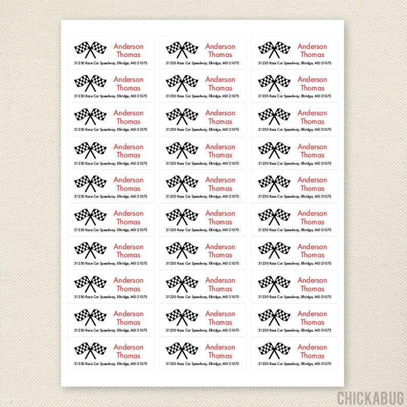 Checkered Flag Address Labels Set of 30