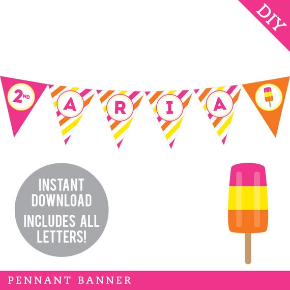 graphic about Printable Pennant Banner identified as Instantaneous Obtain Popsicle Celebration - Do it yourself printable pennant