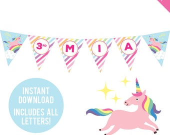 INSTANT DOWNLOAD Unicorn Party - DIY printable pennant banner - Unicorn birthday banner - Includes all letters, plus ages 1-18