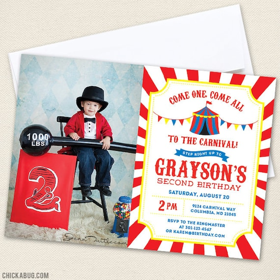 picture about Printable Carnival Birthday Invitations called Carnival or Circus Image Invites with Hefty Photograph - Do it yourself
