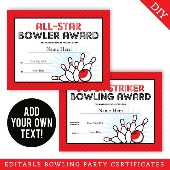 EDITABLE INSTANT DOWNLOAD Bowling Party Certificates