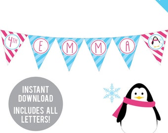 INSTANT DOWNLOAD Penguin Birthday Party (Pink Accents) - DIY printable pennant banner - Includes all letters, plus ages 1-18