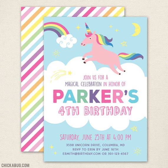 Unicorn Birthday Party Invitations Professionally Printed Or Diy