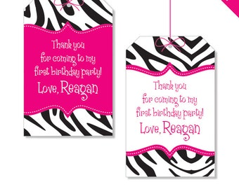 Zebra Party in Your Choice of Color - Personalized DIY printable favor tags