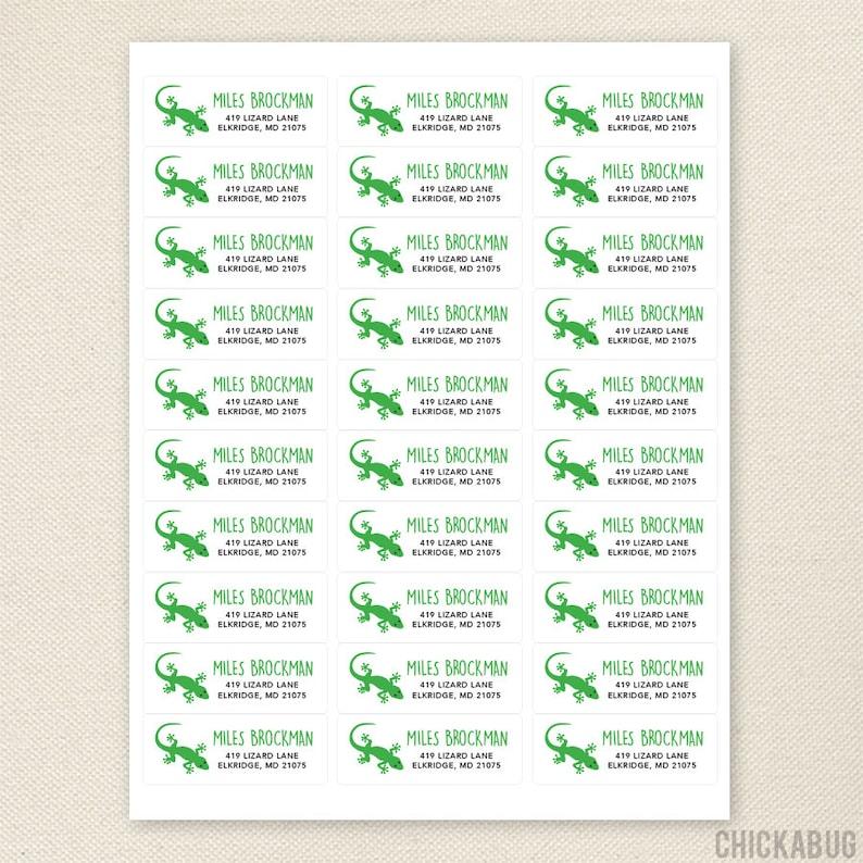 Set of 30 Lizard Address Labels