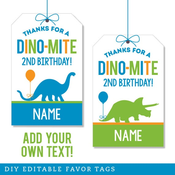 Instant Download Dinosaur Themed Favor Tags 4 different tag designs Print Your Own
