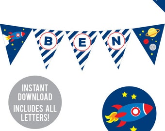 INSTANT DOWNLOAD Rocket / Outer Space Party - DIY printable pennant banner - Includes all letters, plus ages 1-18