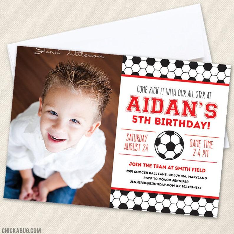 CHOOSE A COLOR Soccer Party Photo Invitations DIY Printable Soccer Birthday Invitations