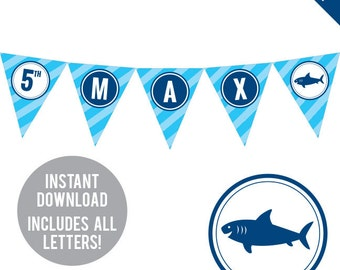 INSTANT DOWNLOAD Shark Party - DIY printable pennant banner - Includes all letters, plus ages 1-18