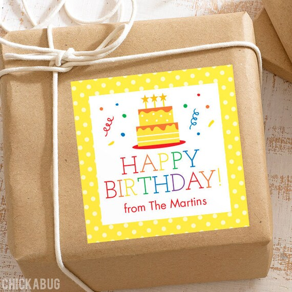 personalized birthday gift labels birthday cake with rainbow