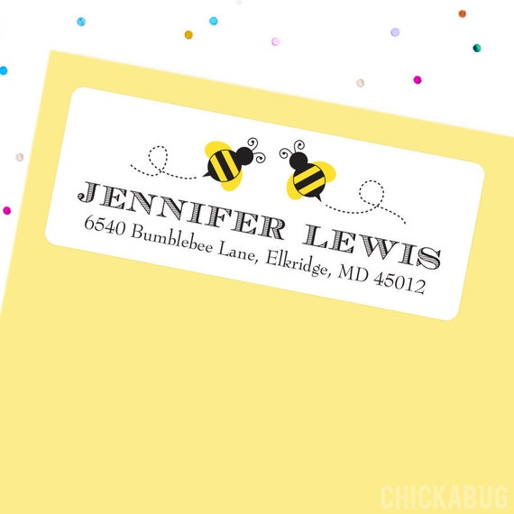 30 Custom Bee Personalized Address Labels