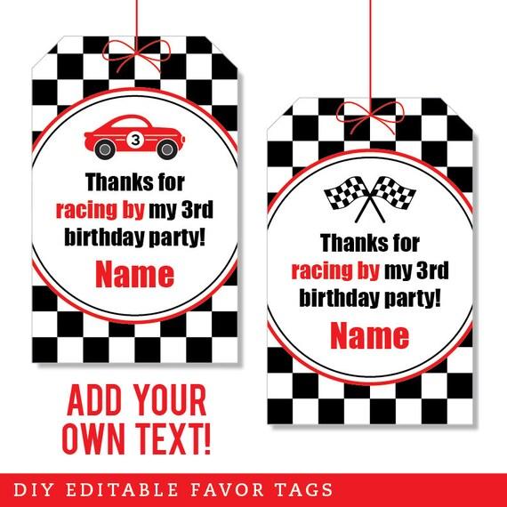 image regarding Printable Birthday Tags identified as EDITABLE Quick Obtain Race Auto Bash Prefer Tags