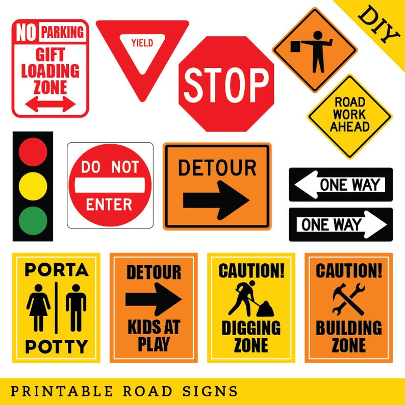 INSTANT DOWNLOAD Construction Party Road Signs - DIY Printable File