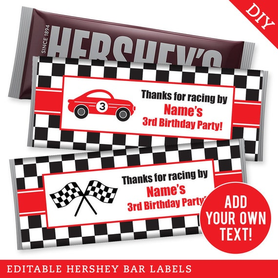 graphic relating to Checkered Flag Printable named EDITABLE Prompt Down load Race Auto Celebration Hershey Labels