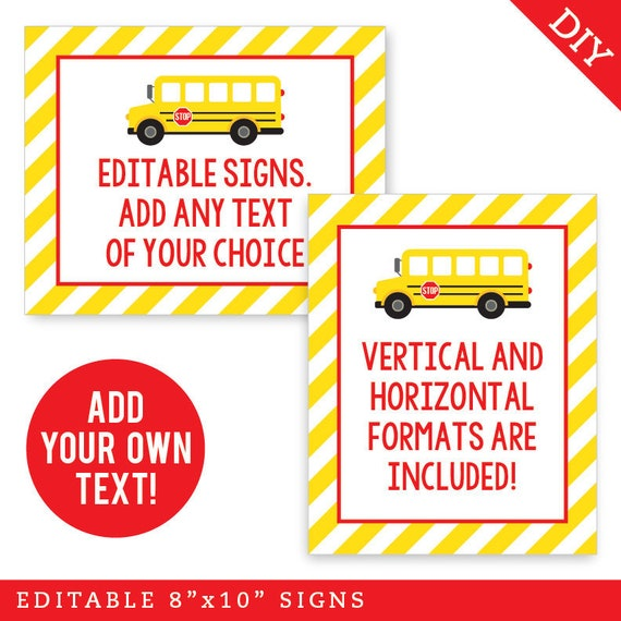 EDITABLE INSTANT DOWNLOAD School Bus Birthday Party Signs