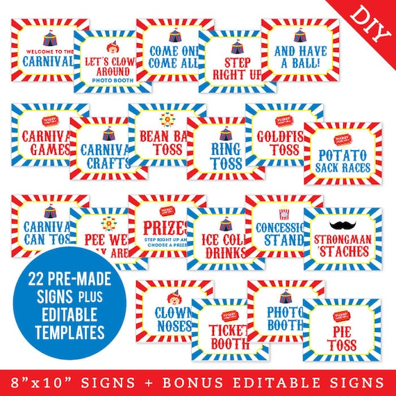 Concessions Carnival Games Carnival Bundle Pack Prizes Rides PRINTABLE 8x1016x20\u201d Signs Circus Party Carnival Signs Tickets