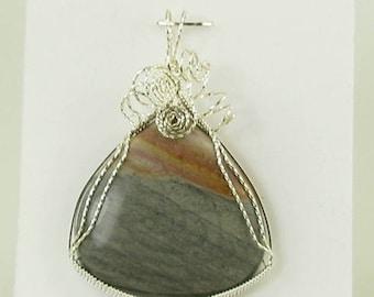 Wave Jasper Pendant, Jasper Pendant, Wire Wrapped Pendant, Jasper Necklace, Gemstone Pendant, Natural Jasper, Jasper Jewelry