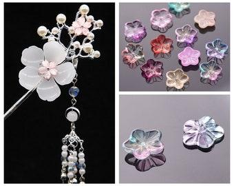 10pcs 27x8mm Petal Crystal Glass Loose Pendants Beads For Jewellery Findings DIY