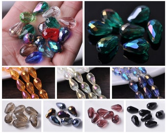 10//20pcs Loose Glass Crystal Teardrop Spacer Beads DIY Jewelry Findings 18x12mm