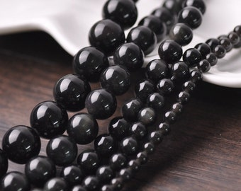 Bulk Round Natural Obsidian Gemstone Beads Loose Bead DIY Jewelry Finding 4-8mm