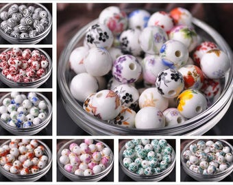 New 10Pcs Ceramic Porcelain Flower Round Spacer Beads Jewelry Accessory 12mm