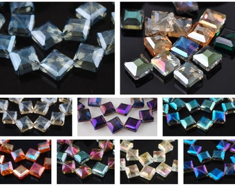 10PCS 14mm Glass Crystal Faceted Diagonal Square Spacer Loose Beads Necklace DIY