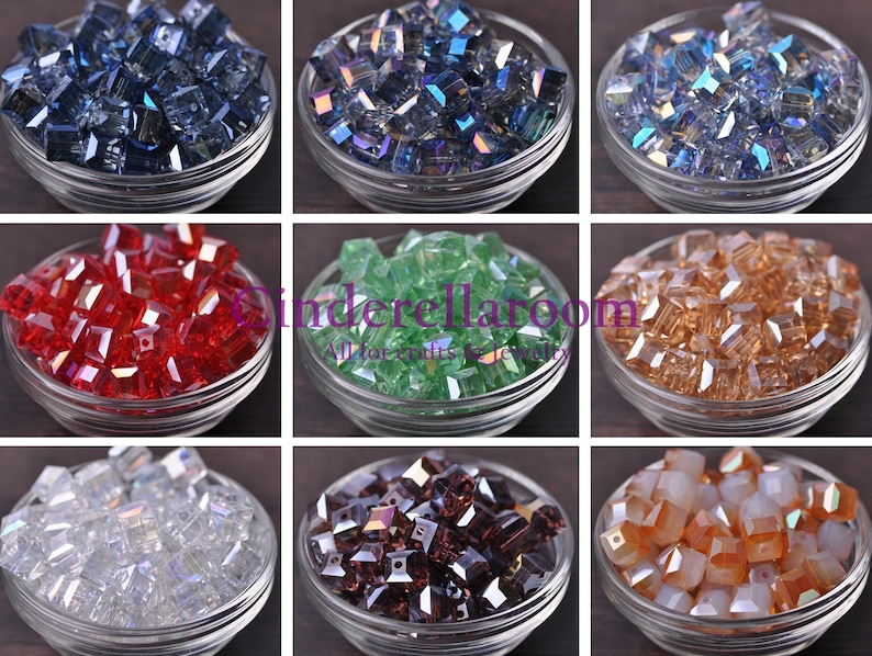 Nouveau 20pcs 9 mm Cube Square Faceted Crystal Glass Loose Spacer Beads Wholesale LOT
