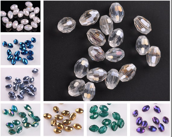 10pcs 20x10mm Glass DIY Jewelry Findings Faceted Loose Spacer Beads Teardrops