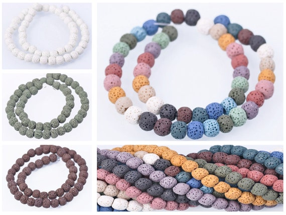 Wholesale Lot 8mm Natural Volcanic Lava Rock Gemstone Round Loose Spacer Beads