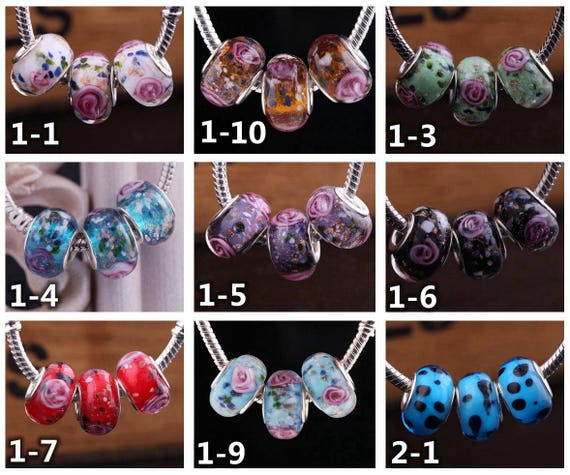 10pcs Faceted Murano Lampwork Glass Big Hole Beads fit European Charms Bracelet