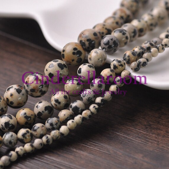 Wholesale 4//6//8//10mm Gemstone Dalmation Stone Round Spacer Beads Jewelry Making