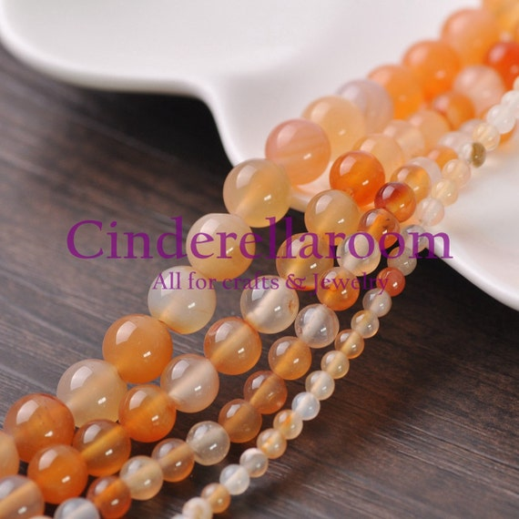 4mm 6mm 8mm 10mm 12mm Natural Orange Agate Gemstone Round Spacer Loose Beads