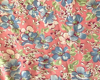 1990/'s Cyrus Clark shabby chic floral navy blue with burgundy yellow flowers