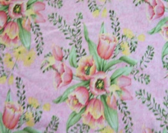 1 Yard Debbie Mumm Tulip Bouquet Cotton Quilt Sewing Fabric-Out of Print