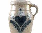 Rowe Pottery Works Handled Crock Jug Heart Salt Glazed Pottery Handmade Hand Painted Cambridge WI