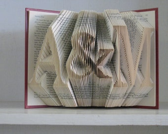 2 Initials with Ampersand - Folded Book Art Sculpture -  Bride & Groom Wedding Anniversary Engagement Bridal Shower