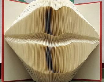 Kiss folded book art sculpture