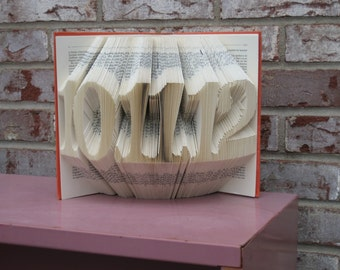 Custom Folded Book Art Sculpture - wedding date - birthday - first paper anniversary gift