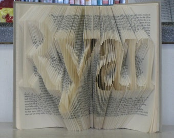 Folded Book Art - 4 letter name or word