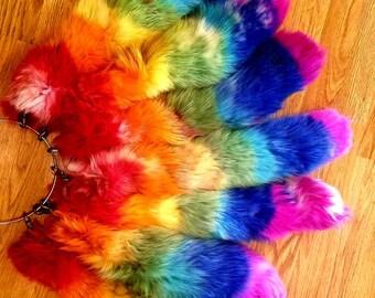 """9/"""" Rainbow Stripes Faux Fur Fox Tail Key Chain Ring Purse Tassel Belt Clip"""
