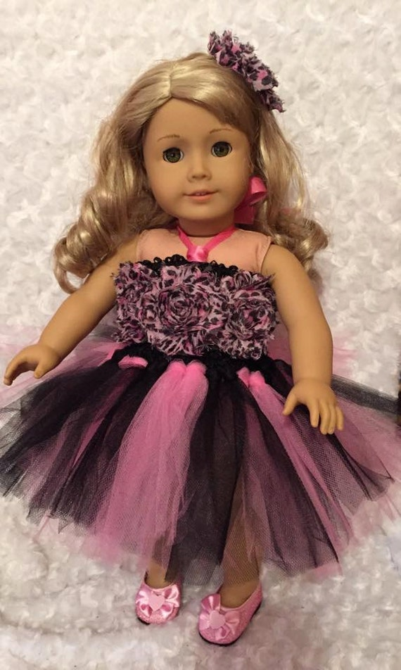 "Doll Clothes 18/"" Dolls Tutu Dress Black Silver Shoes Fits 18/"" AG Dolls"