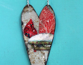 76418b582 Heart - vintage metal ornament or hanging wall decor - beautiful red  cardinal in the snow decoupaged on tin ceiling tile heart