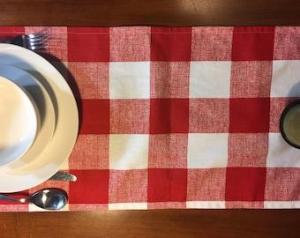 Holiday Table Runner /  Christmas Table Runner /  Red table runner / Table linens / Table cloths