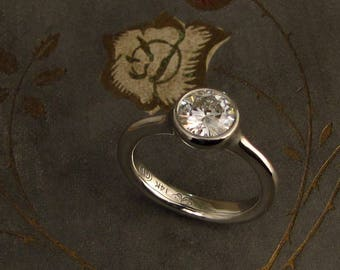 1ct Diamond + Platinum Low-Profile Solitaire - Made to Order