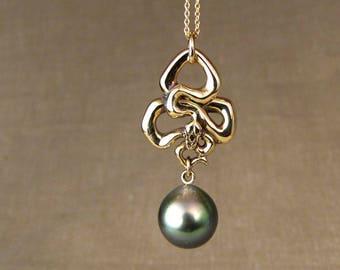 Art Nouveau Snake + Tahitian Pearl Necklace