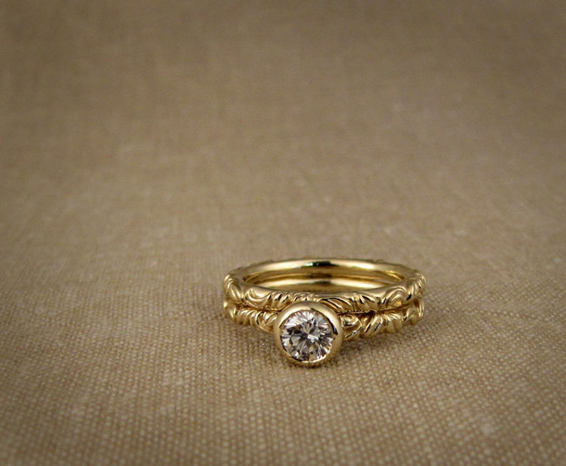 Victorian Solitaire and Wedding Band Set 14K Made to Order image 0